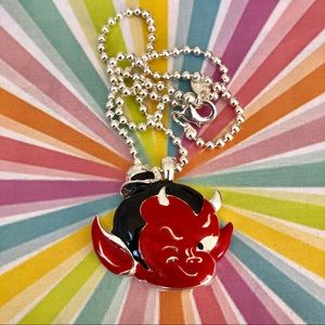 ✨Little sly red devil baby enamel necklace NWT